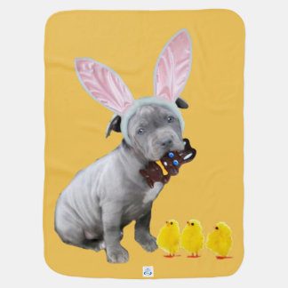 Easter pitbull puppy baby blanket