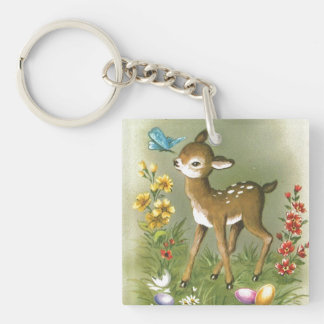 Easter Play Double-Sided Square Acrylic Key Ring