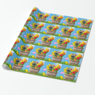 Easter Pomeranian dog personalized wrapping paper