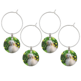 Easter Poodle puppy set of 4 wine charms