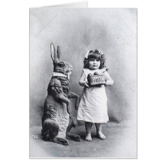 Easter Post Card Huge Rabbit and Sweet Girl