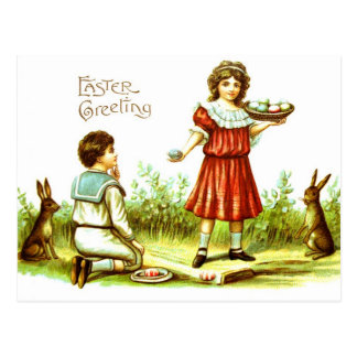 Easter PostCard Victorian Children Bunnies Eggs