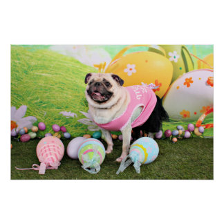 Easter - Pug -Hannah Poster