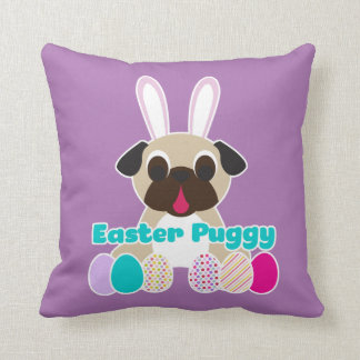 Easter Puggy Pug Bunny Lilac Pillow