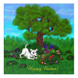 Easter - Puppy Capo and Butterfly Acrylic Wall Art