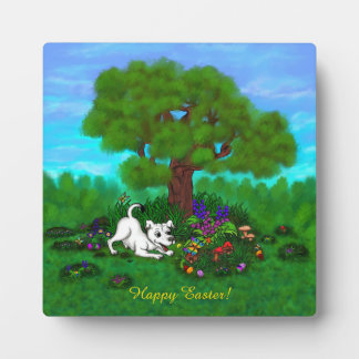 Easter - Puppy Capo and Butterfly Plaque