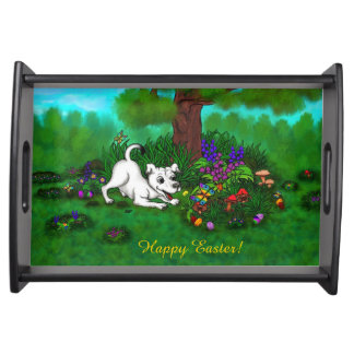 Easter - Puppy Capo and Butterfly Serving Tray