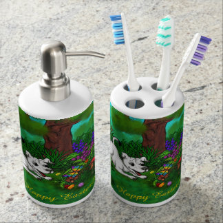 Easter - Puppy Capo and Butterfly Soap Dispenser And Toothbrush Holder