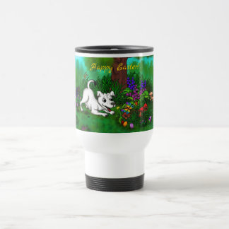Easter - Puppy Capo and Butterfly Travel Mug