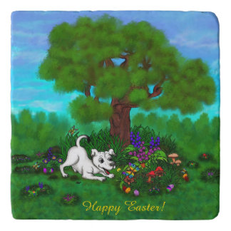 Easter - Puppy Capo and Butterfly Trivet