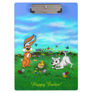 Easter - Puppy Capo Rabbit and Chick Clipboard
