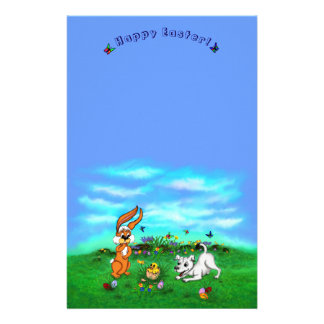 Easter - Puppy Capo Rabbit and Chick Stationery