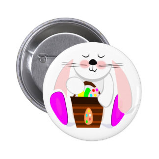 Easter Rabbit And A Basket of Eggs Buttons