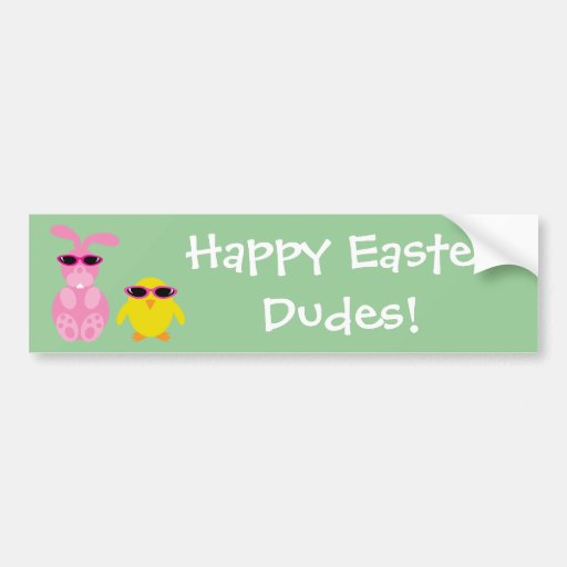 Easter Rabbit & Chick With Sunglasses Bumper Stickers