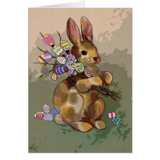 Easter rabbit greeting card