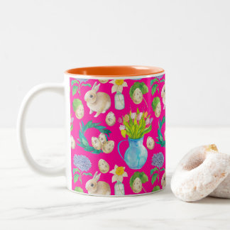 Easter Rabbit guards illustration Two-Tone Coffee Mug