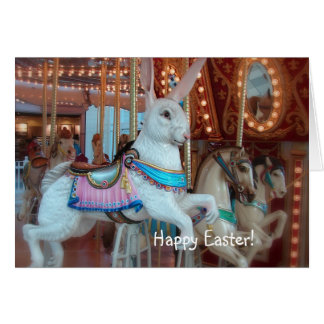 Easter Rabbit on Merry-Go-Round Card