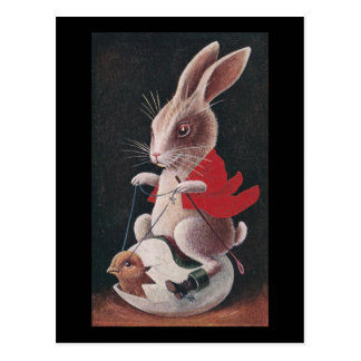Easter Rabbit Riding Egg Postcard