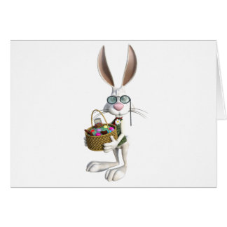 Easter Rabbit with Easter Basket Card