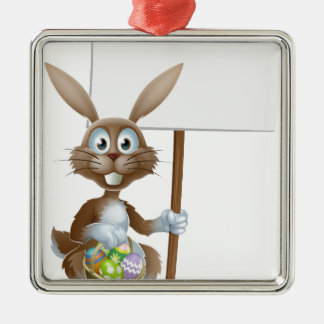 Easter rabbit with sign and eggs basket christmas tree ornaments