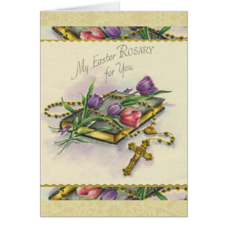 Easter Rosary Spiritual Bouquet Floral Card