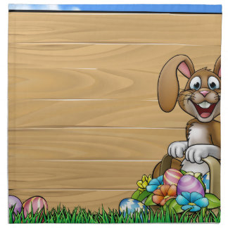 Easter Sign Bunny Eggs Background Napkin