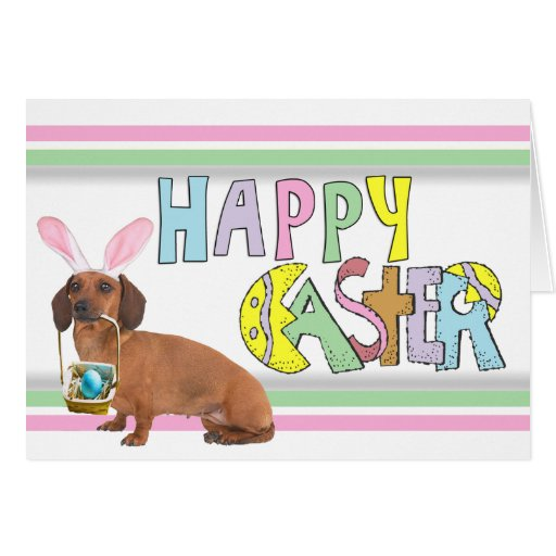 Easter Smooth Dachshund Greeting Cards