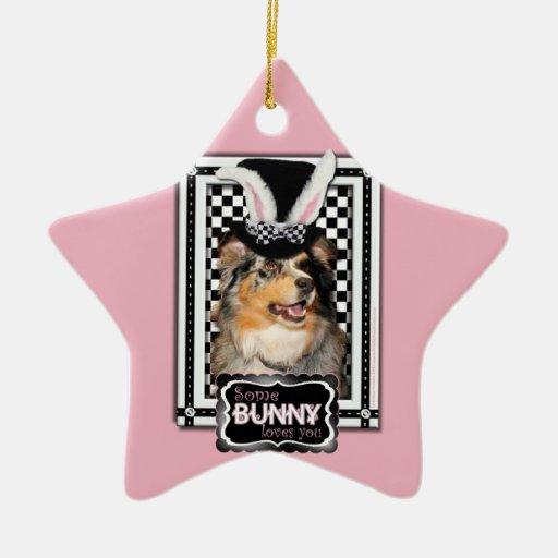 Easter - Some Bunny Loves You  Australian Shepherd Christmas Ornament