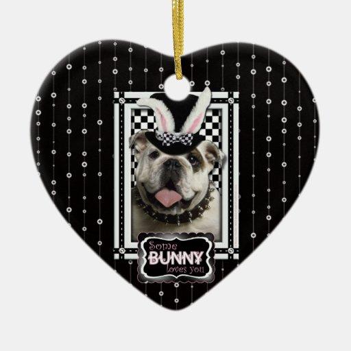 Easter - Some Bunny Loves You - Bulldog Christmas Ornament