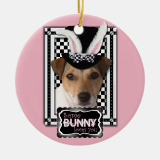 Easter - Some Bunny Loves You - Jack Russell Double-Sided Ceramic Round Christmas Ornament