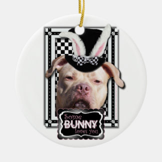 Easter - Some Bunny Loves You - Pitbull Double-Sided Ceramic Round Christmas Ornament