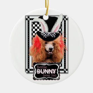 Easter - Some Bunny Loves You - Poodle - Red Christmas Ornaments