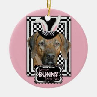 Easter - Some Bunny Loves You Rhodesian Ridgeback Christmas Tree Ornaments
