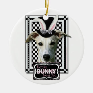 Easter - Some Bunny Loves You - Whippet Double-Sided Ceramic Round Christmas Ornament