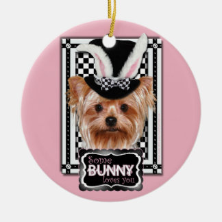 Easter - Some Bunny Loves You - Yorkie Round Ceramic Decoration