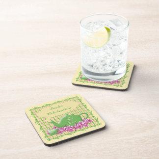 Easter Tea Celebration Plaid Drink Coasters