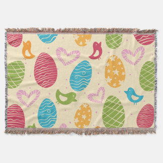 Easter throw blanket with colorful Easter eggs