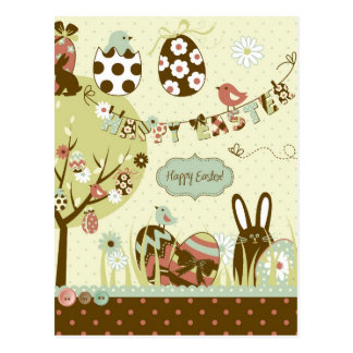 Easter tree and a Clothesline with Letters Postcard