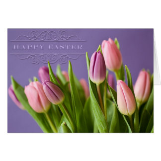"""Easter - """"Tulips"""" with """"Happy Easter"""" Word Art Greeting Card"""