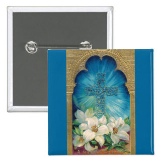 Easter With Cross and Lilies 15 Cm Square Badge