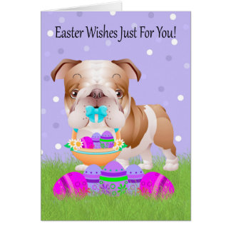 Easter With Little Bulldog With Easter Basket Greeting Card