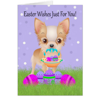 Easter With Little Chihuahua With Easter Basket Greeting Card