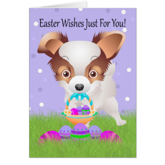 Easter With Little Papillon With Easter Basket Greeting Card