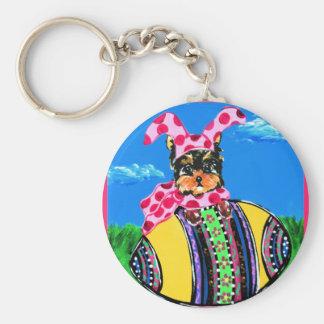 Easter Yorkie Poo Key Ring