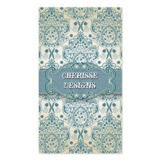 Eastern Blue Baroque Damask Business Card