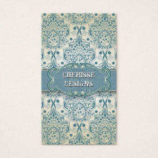 Eastern Blue Baroque Damask Business Card