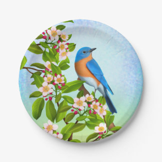 Eastern Bluebird in Apple Blossoms Paper Plates 7 Inch Paper Plate