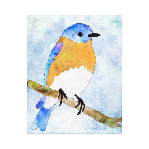 Eastern Bluebird – male -  watercolor style canvas Canvas Prints