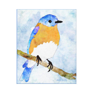 Eastern Bluebird – male -  watercolor style canvas Canvas Print
