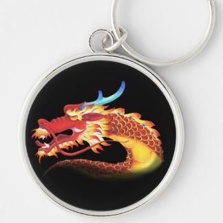 Eastern Dragon Silver-Colored Round Key Ring